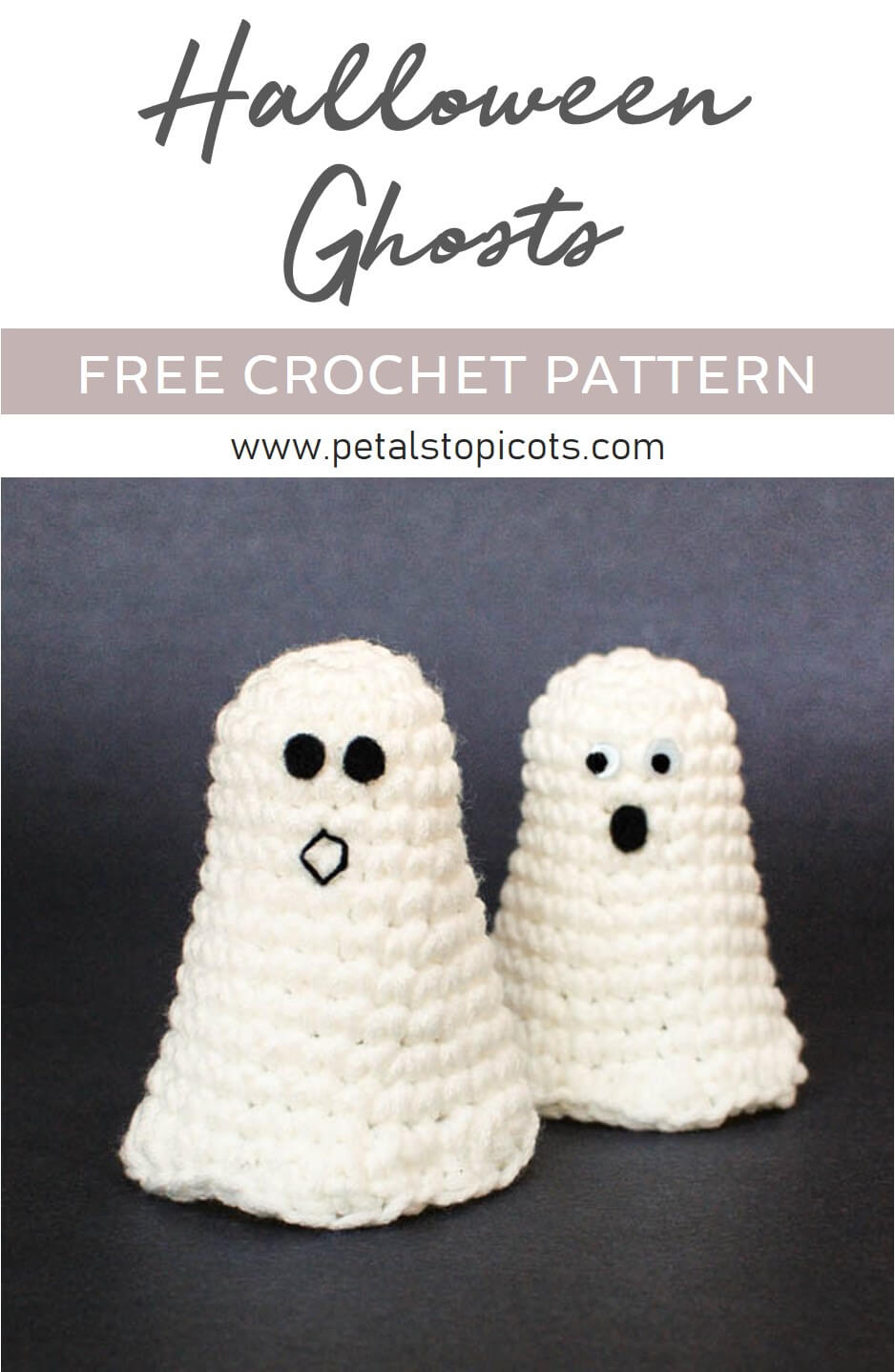 This adorable ghost crochet pattern is perfect for your Halloween decor or for adding to little treat bags! #petalstopicots