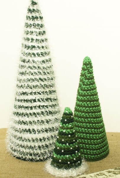 Cone Christmas Trees Crochet Patterns | www.petalstopicots.com