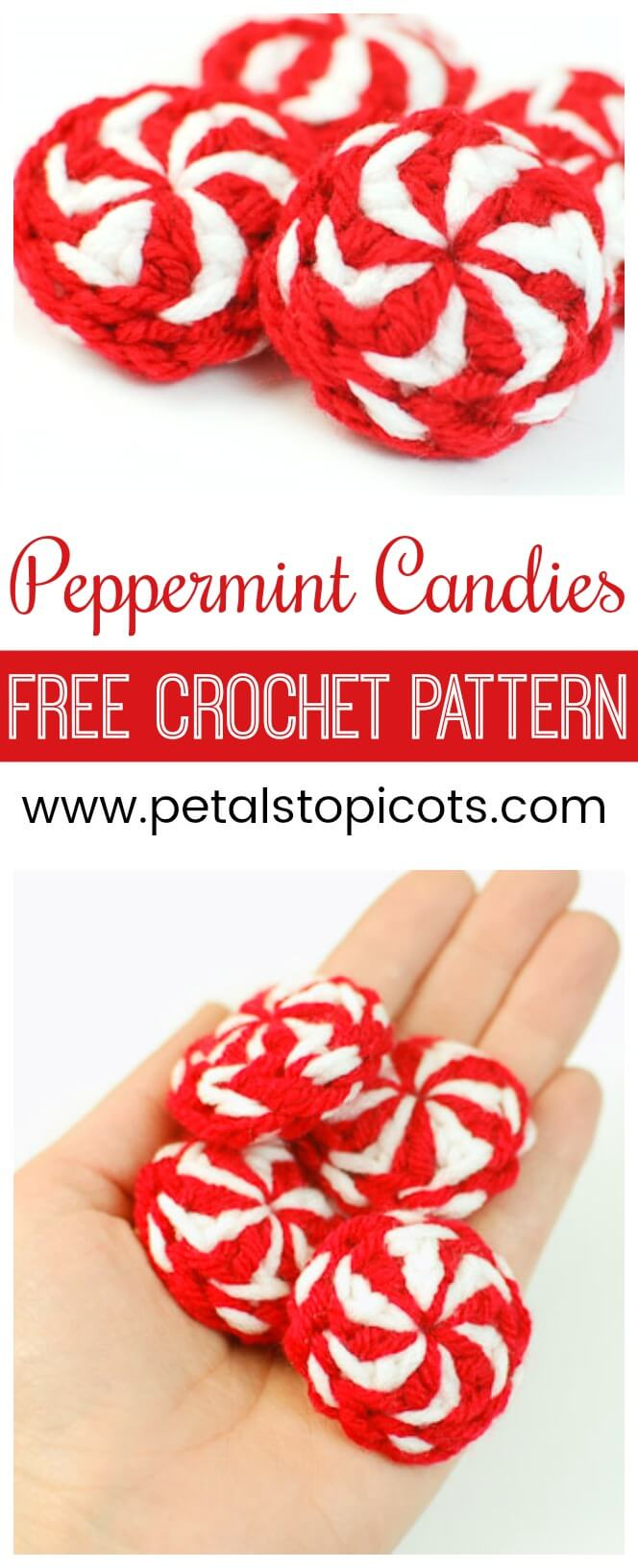 This peppermint candy crochet pattern creates sweet little peppermints reminiscent of holidays past. They are so quick and simple that you can easily make a bowl full in an evening. #petalstopicots