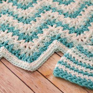 V stitch ripple baby blanket and hat crochet pattern-5