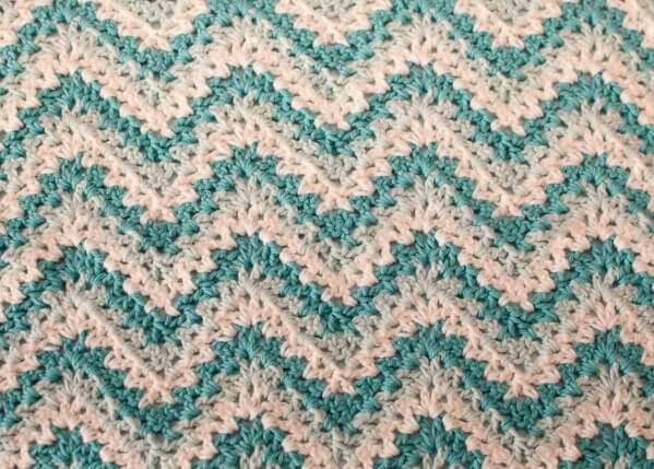 Crochet Pattern V Stitch Baby Blanket : Gentle Ripple Baby Blanket and Hat Crochet Pattern ...