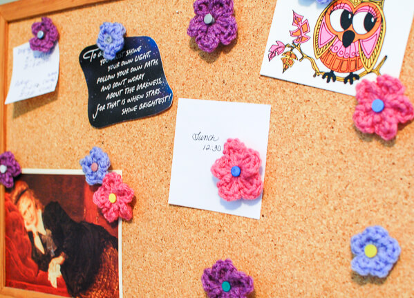 crochet flower cork board