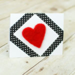 Needle Felted Heart Handmade Valentine's Day Card