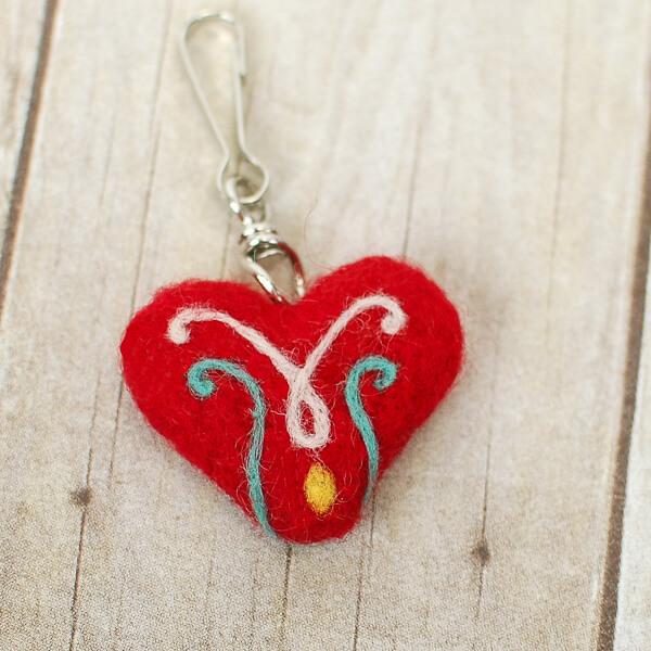 Needle felted heart