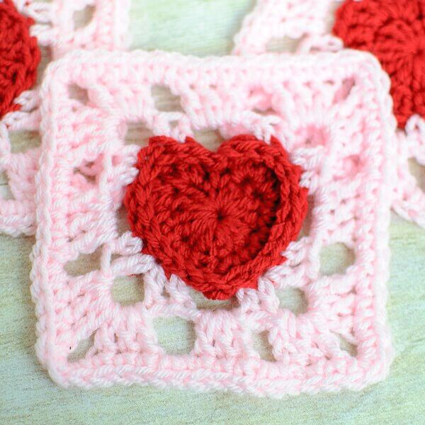 Heart Granny Square Crochet Pattern Petals to Picots