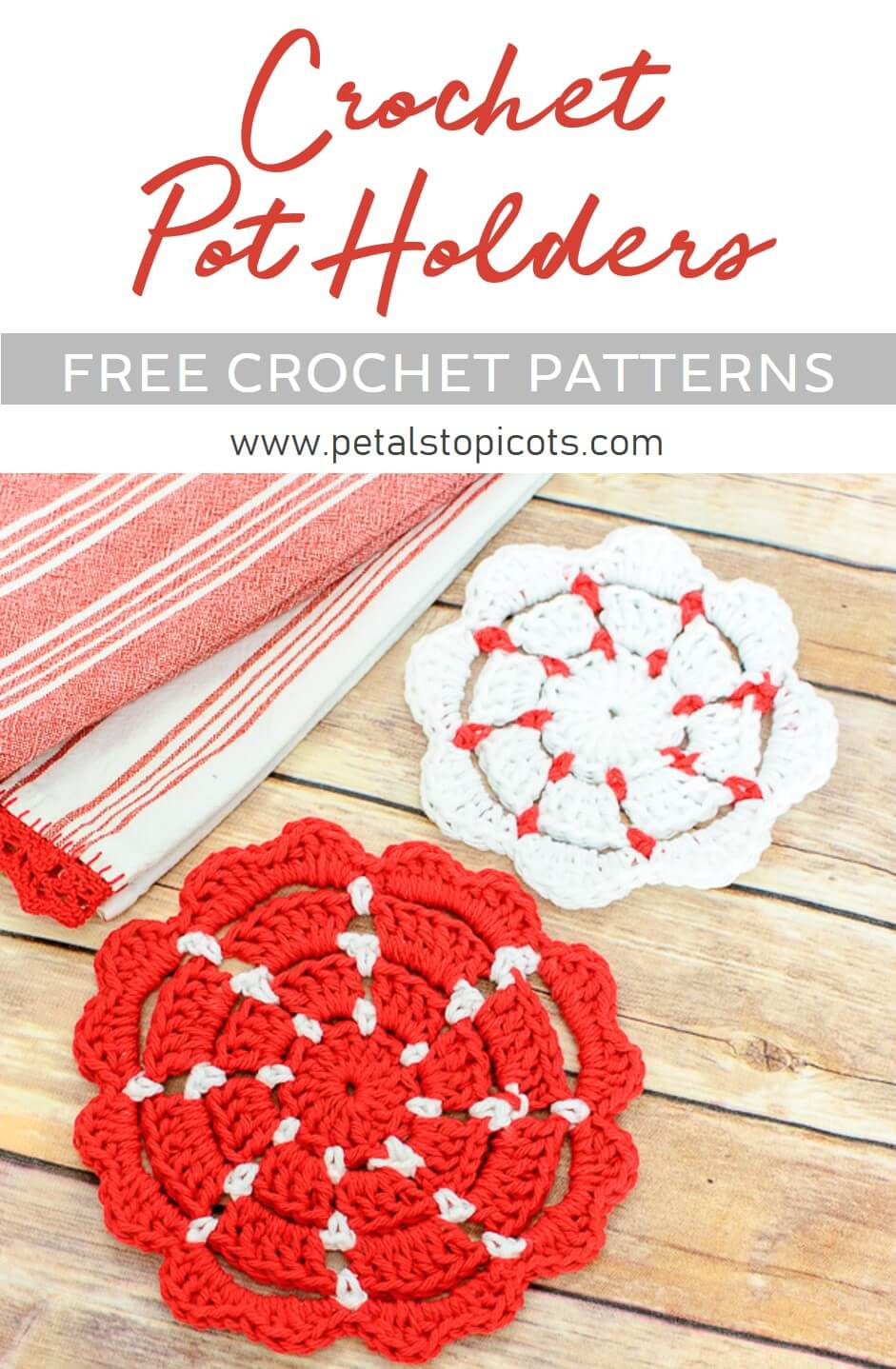 A simple yet classic design ... free crochet pot holder patterns. #petalstopicots