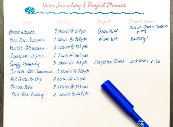 Yarn Inventory and Project Planning Printable | www.petalstopicots.com | #yarn #planner #printable #crochet #knit