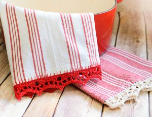 Crochet edged tea towels
