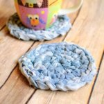 Fabric yarn crochet coaster pattern