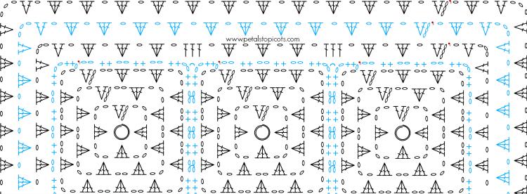 granny crochet edging stitch diagram