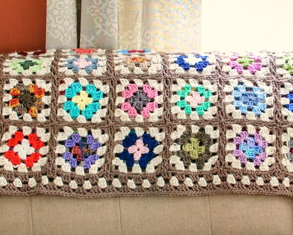 Free Crochet Granny Square Blanket Pattern Petals to Picots