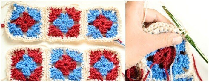 Joining rows of granny squares