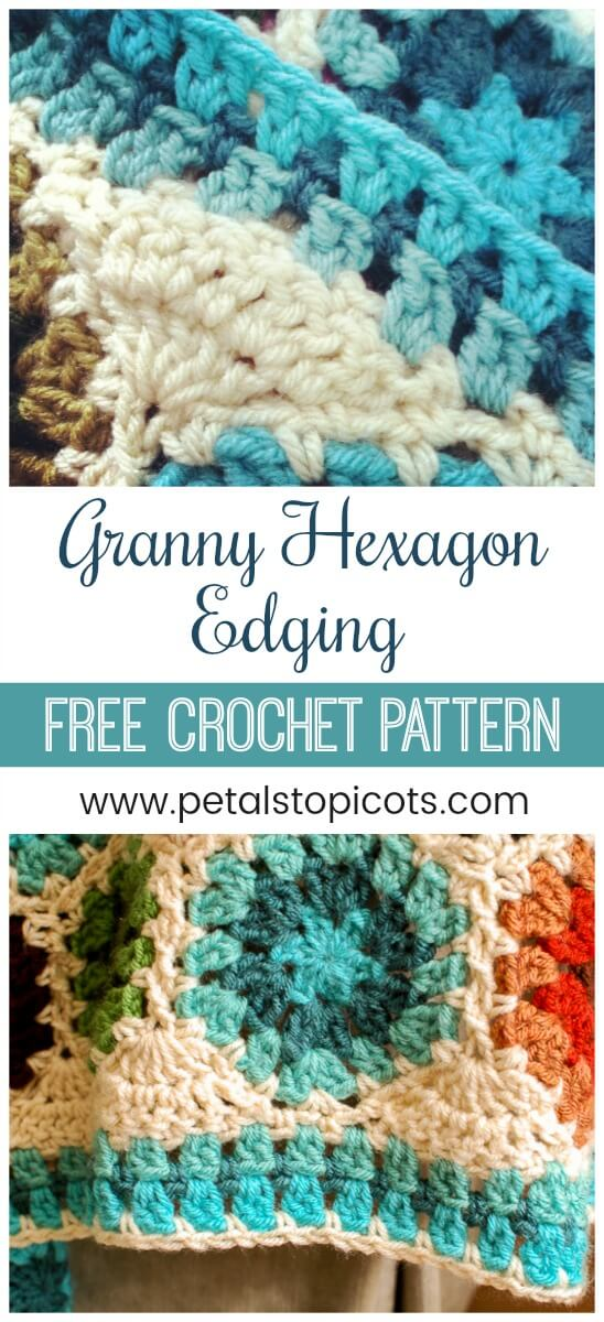 A pretty Granny Hexagon Crochet Edging Pattern that fills in those granny valleys as you work around your afghan for a beautifully straight edge! #petalstopicots
