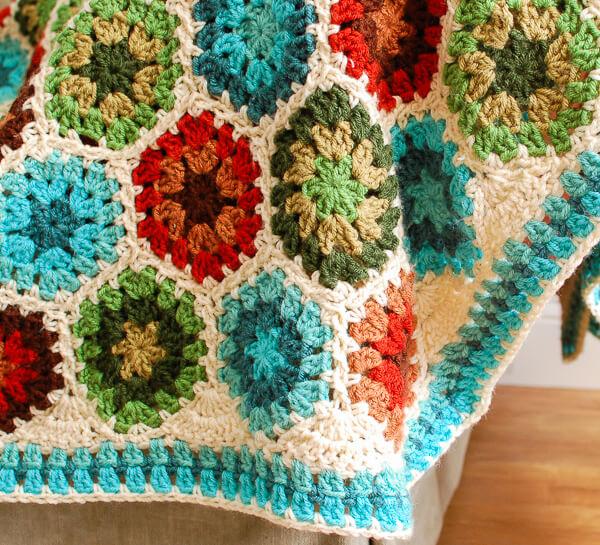Granny Hexagon Crochet Edging Petals to Picots