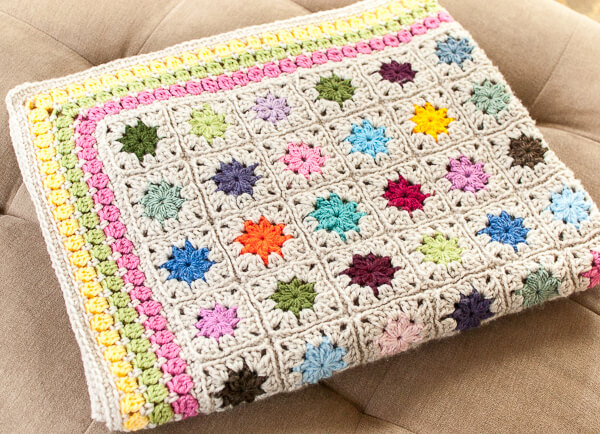 FREE Crochet Throw Blanket Patterns featured by top US crochet blog, Flamingo Toes: Cluster Burst Afghan Crochet Pattern