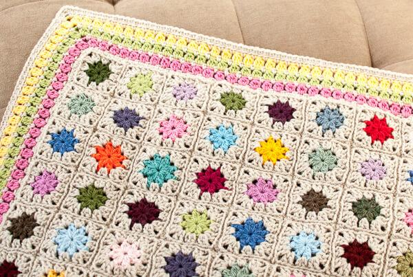 Cluster Burst Afghan Crochet Edging Pattern - Petals to Picots