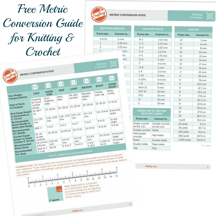 Free Metric Conversion Guide For Knitting And Crochet Petals To Picots