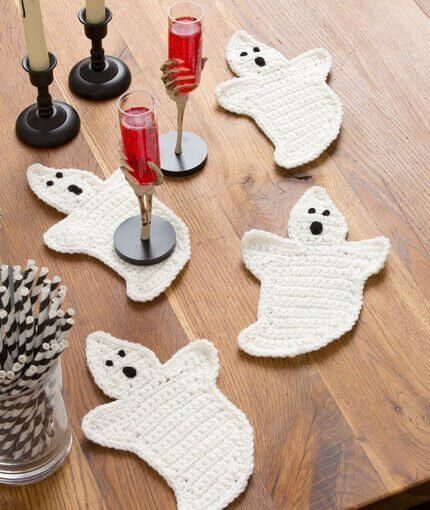 Crochet Ghost Coaster Pattern by Kara Gunza