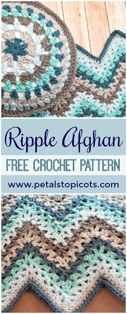 Ripple Afghan Crochet Pattern - It\'s afghan season so get stitchin\' on something cozy for on those chilly Autumn evenings ... here\'s a contemporary twist on an old classic ripple afghan pattern. #petalstopicots #petalstopicotscrochet #p2pFiberArtsCommunity