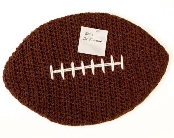 Crochet Pattern For Football Blanket : Crochet Football Cork Board Pattern - Petals to Picots