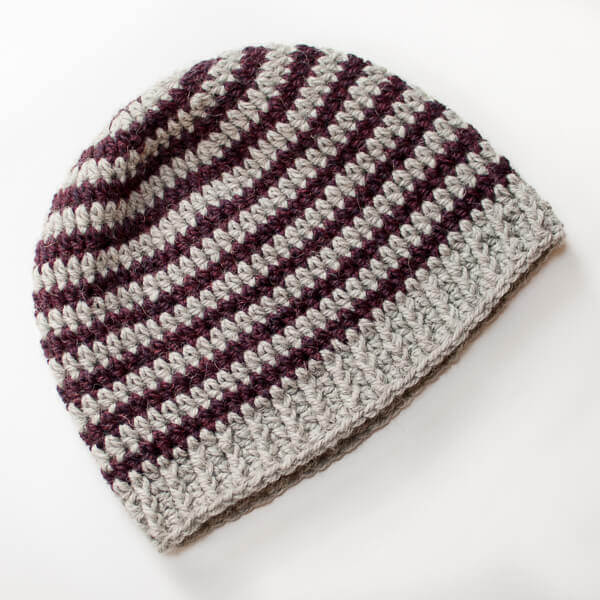 Basic Striped Crochet Hat Pattern | www.petalstopicots.com | #crochet #pattern #hat