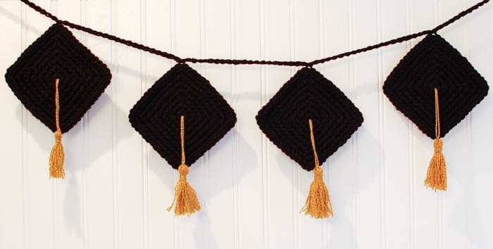 Crafty Graduation Decor ... Crochet Bunting Pattern | www.petalstopicots.com | #crochet #crafts #graduation #bunting #pattern