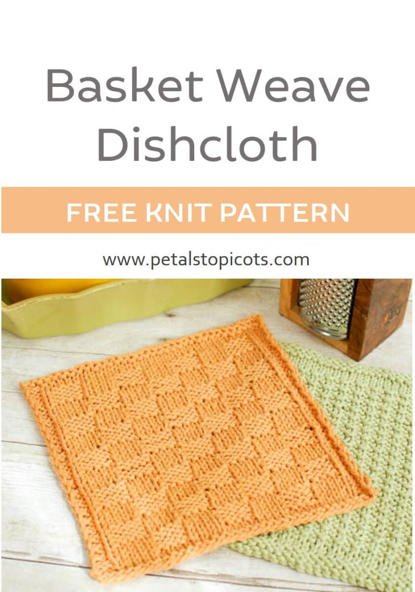Add some color to your kitchen duty with this basket weave knit dishcloth pattern ... such a quick knit and a great way to learn a new stitch!