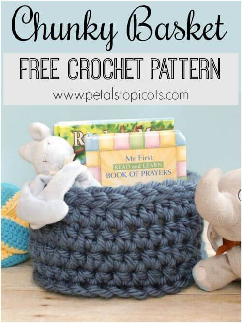 This Chunky Crochet Basket is perfect for storing books and toys or any other items you want to corral ... and it\'s a free pattern too!