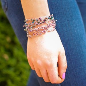 Boho-Chic Wire Wrapped Beaded Crochet Bracelet | www.petalstopicots.com | #crochet #jewelry #bracelet #wire