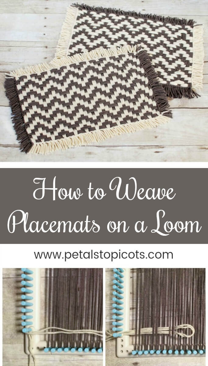 I am so excited to share with you this tutorial on how to weave placemats on a loom! I haven\'t used a loom to weave since I was a kid making potholders (remember those?!) and forgot how much fun it is. I thought some placemats would be a nice idea so played around and LOVE how they came out!  #petalstopicots