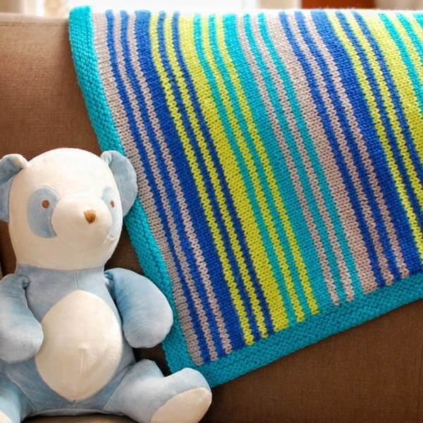 Free Knitting Pattern For Striped Baby Blanket :