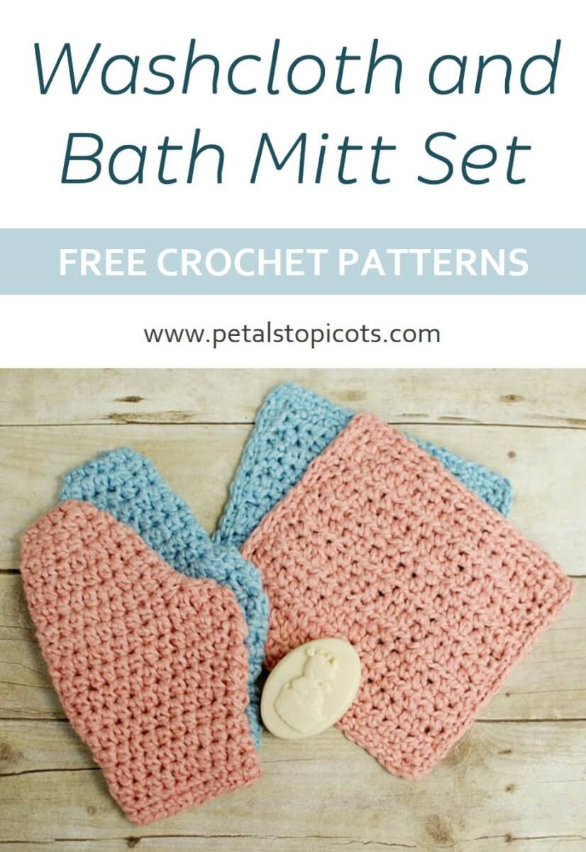 This crochet washcloth and bath mitt set makes a great gift for a spa themed gift set for a friend or a unique baby shower gift!