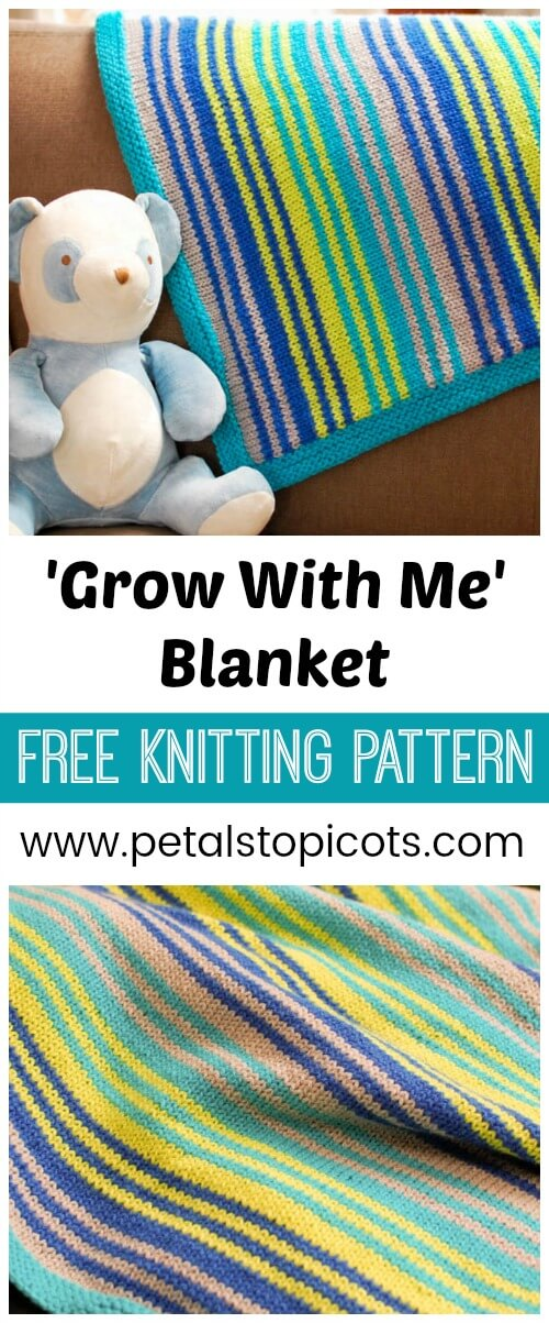 A cozy blanket pattern with a colorful stripe design will easily stay of favorite way after those baby days are long gone. And best of all it can be easily adjusted to any size you desire. #petalstopicots