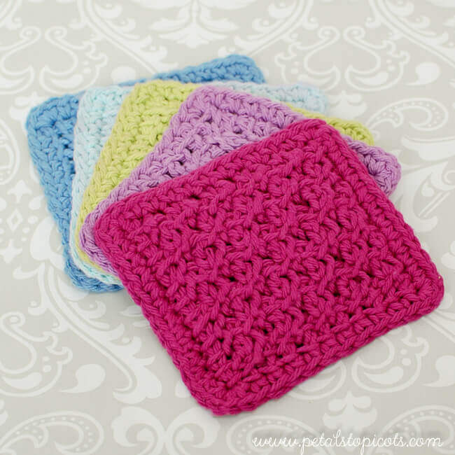 Coaster Set Tunisian Crochet Patterns Petals Picots