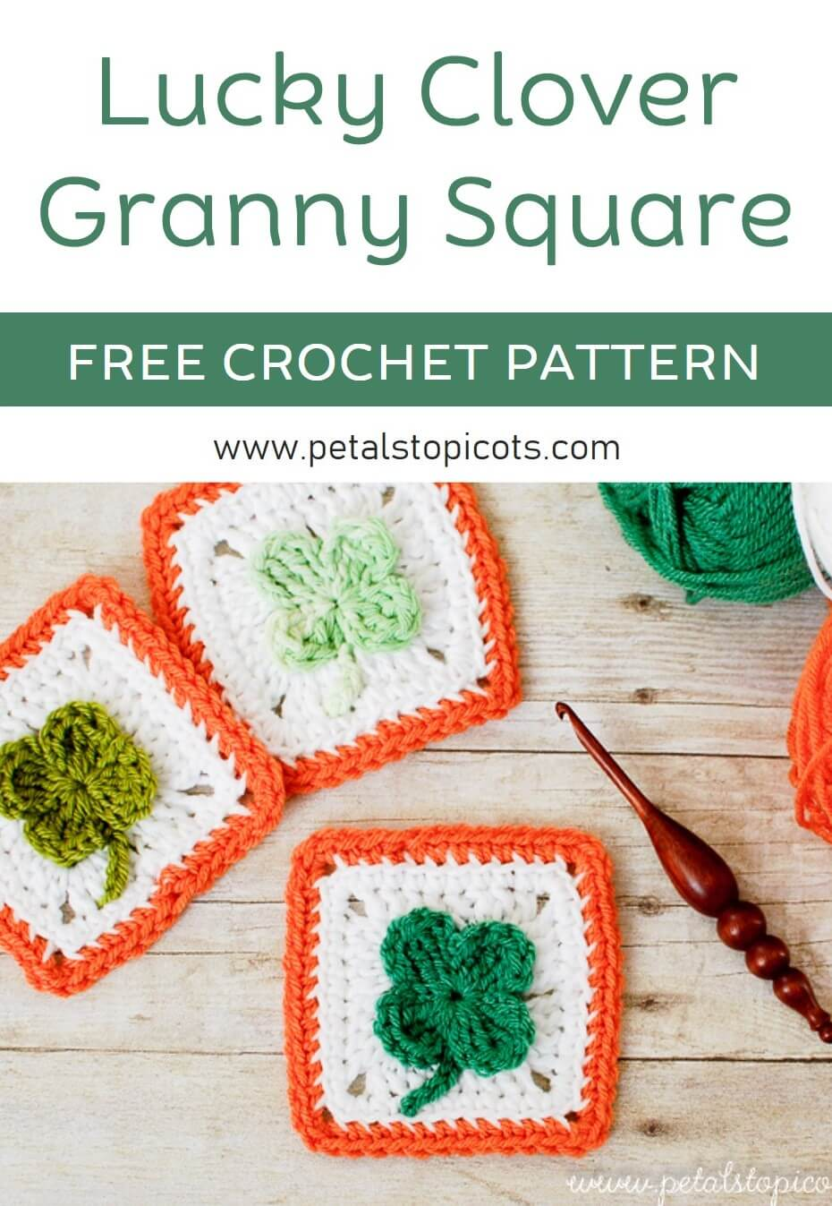 You don\'t need to find a four-leaf clover for luck ... stitch up some of your own with this free crochet clover afghan square pattern! #petalstopicots