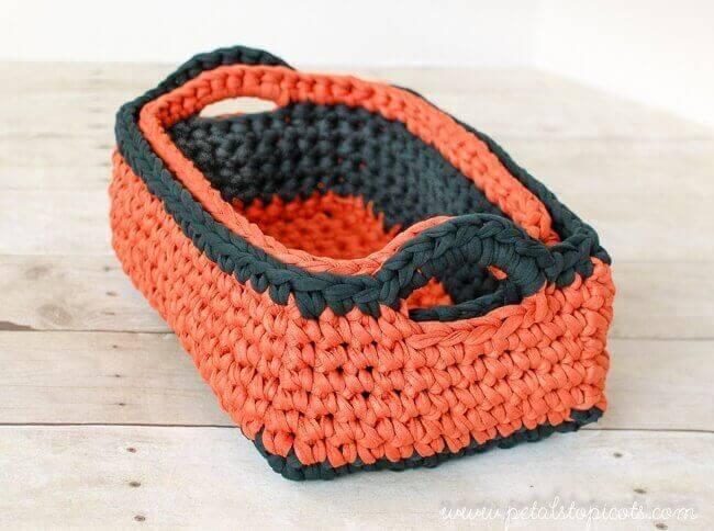 Rectangular Crochet Basket Pattern Two Nesting Sizes Petals