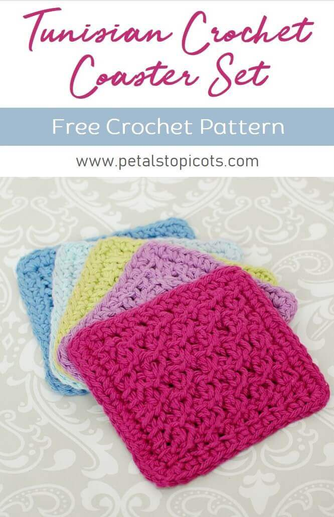 This Tunisian crochet coaster pattern works up so quickly so you can make a set of charming coasters for your home or to give as a gift! It\'s also the perfect size for practicing your stitches! If you are just getting started with Tunisian Crochet, you can check out my Learn Tunisian Crochet series to get started. #petalstopicots