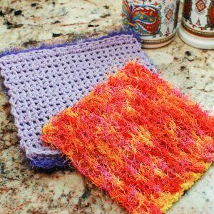 Free Crochet Patterns For Scrubby Yarn : Free Scrubby Crochet Dishcloth Patterns - Petals to Picots
