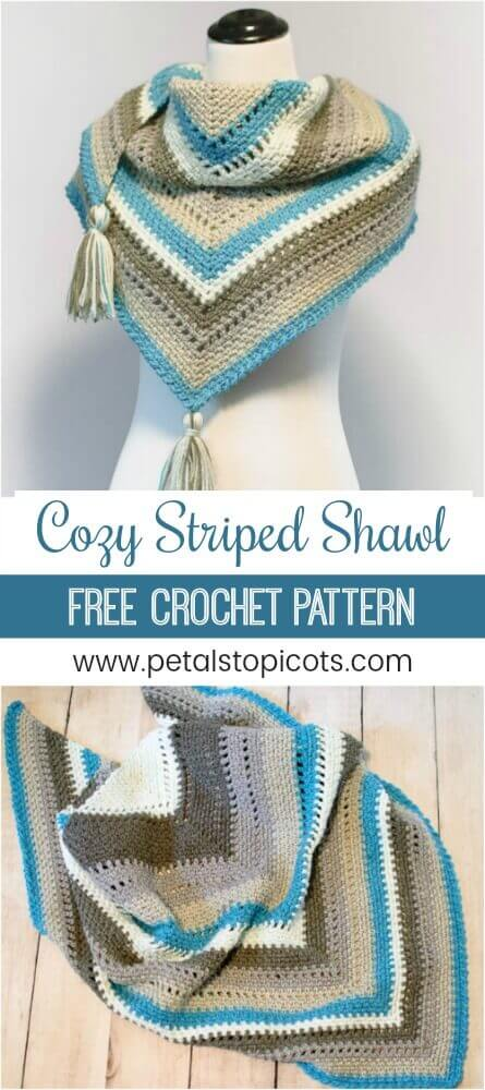This shawl is soooo cozy ... hence Cozy Striped Shawl Crochet Pattern. I just love the striking pops of blue! But don't let the striping scare you off ... there's no color changing (or lots of ends to weave in!) because it's all in the self striping yarn. #petalstopicots
