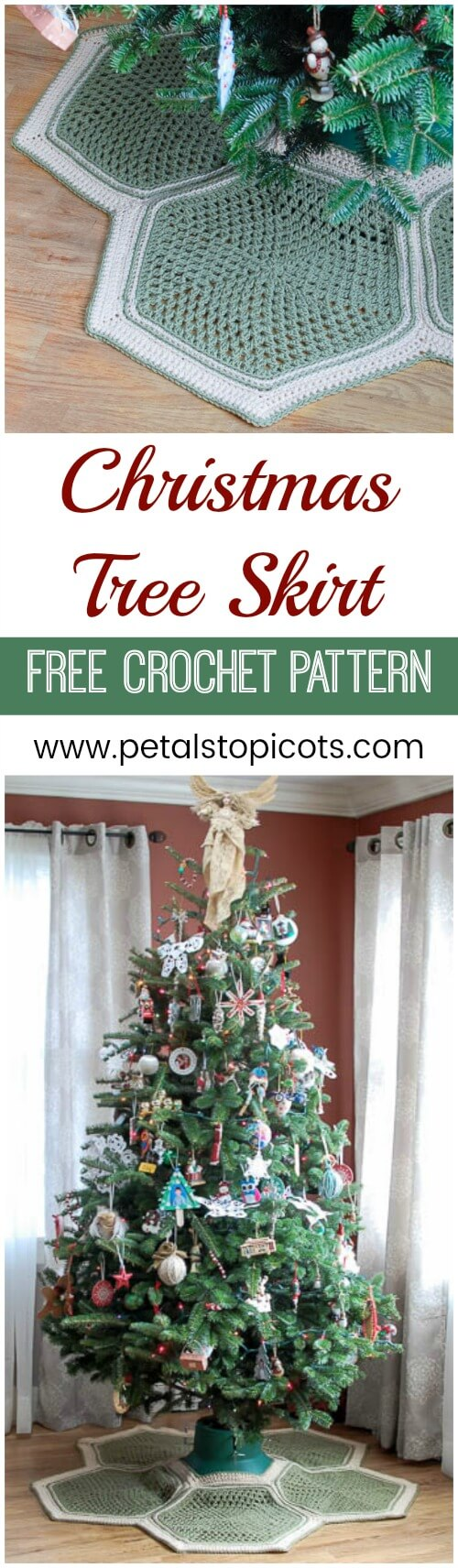 Stitch up this charming crochet tree skirt for your Christmas decor ... a free crochet pattern with lots of diagrams and photos to help guide you through! #petalstopicots
