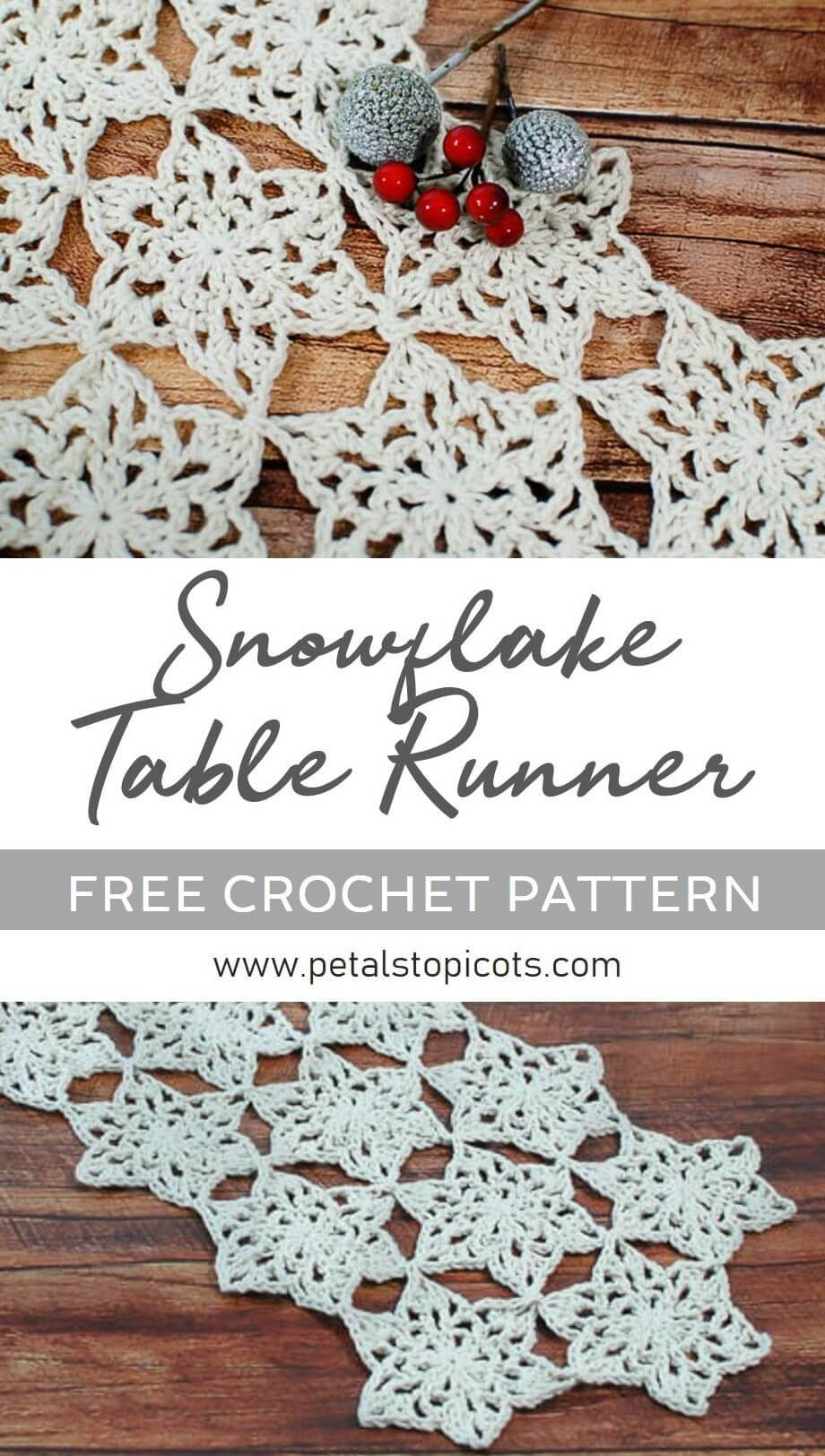 Add some winter whimsy to your table with this pretty Snowflake Table Runner Crochet Pattern ... it's the perfect accent for the holiday season and throughout the winter months! #petalstopicots