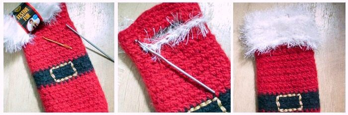 Felted Santa Wine Bottle Holder Crochet Pattern | www.petalstopicots.com | #crochet