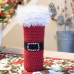 Felted Santa Wine Bottle Tote Crochet Pattern