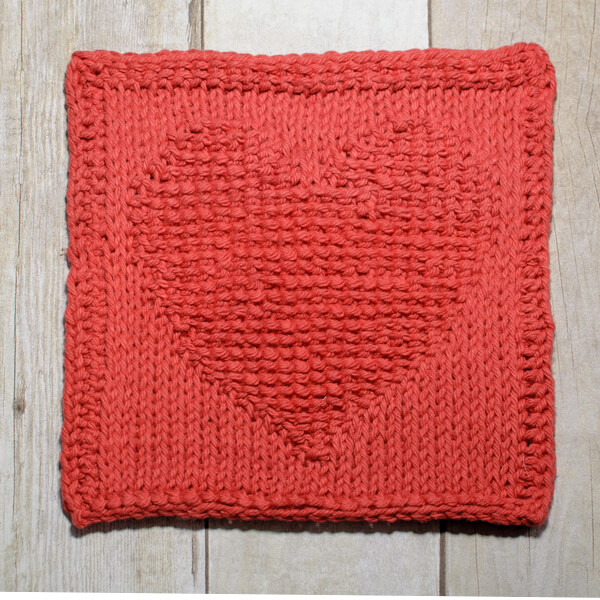 Heart Tunisian Crochet Dishcloth Pattern