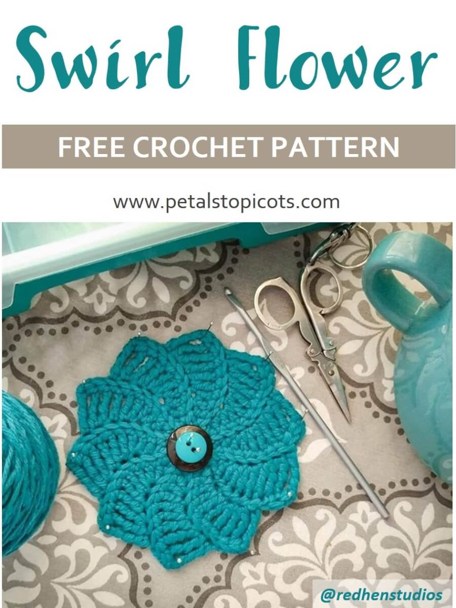 This gorgeous swirl flower crochet pattern is sure to make a statement ... try working it up in different yarn weights and use it to embellish just about anything!