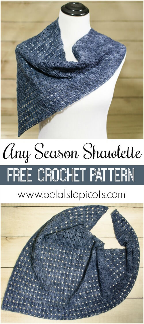 I am in love with this asymmetrical shawlette ... and it\'s a FREE crochet pattern too! #petalstopicots