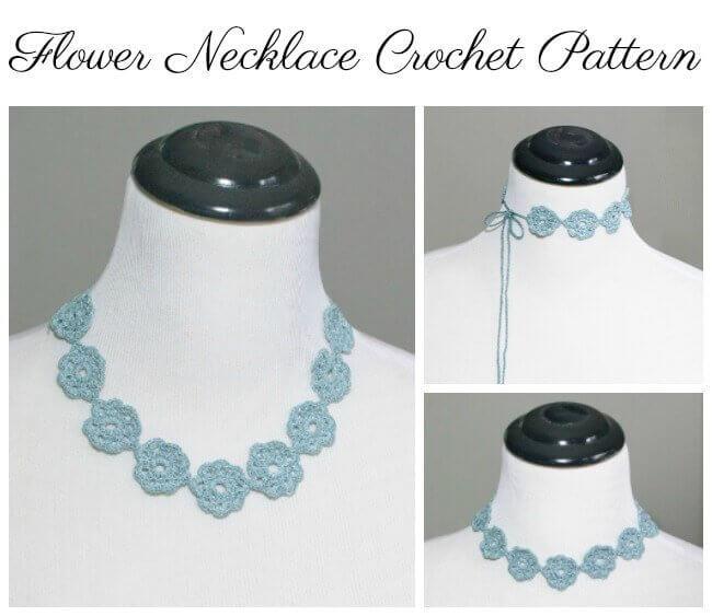 Flower Necklace Crochet Pattern | www.petalstopicots.com | #crochet