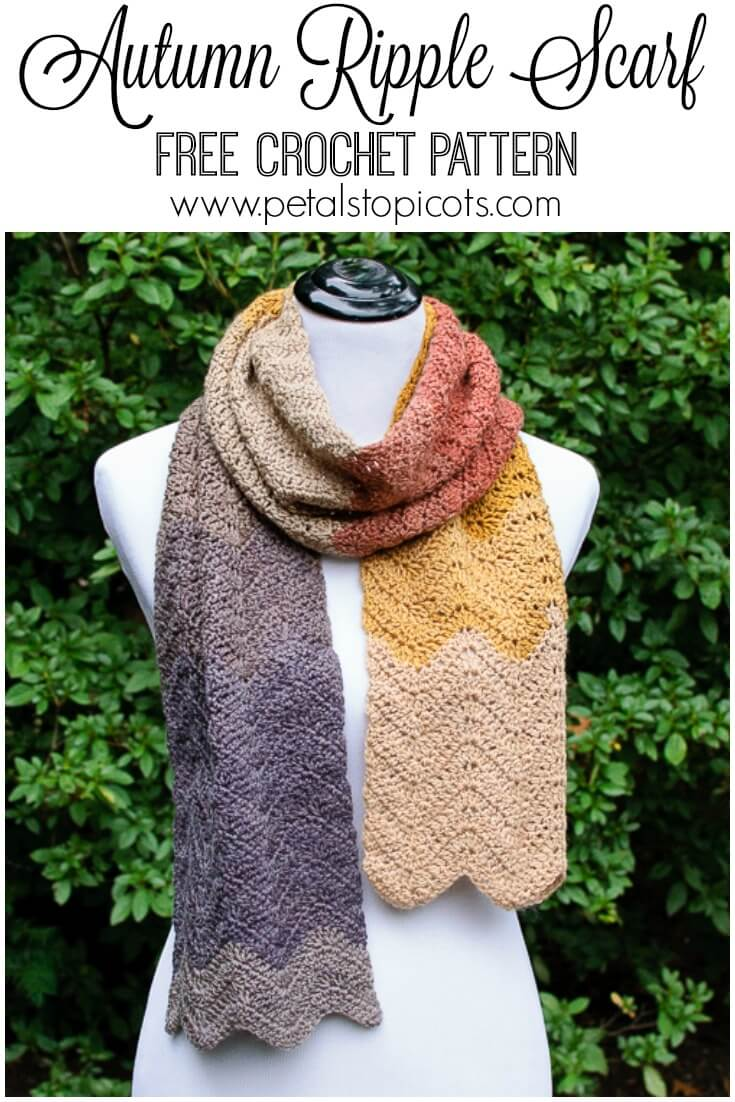 This Autumn Ripple crochet scarf pattern makes for a great project for any experience level! It\'s a perfect beginner project because it only takes one stitch and some increases and decreases to get an awesome ripple effect. Add in some self striping yarn and you don\'t even need to fuss with changing colors! Click over for the free pattern.