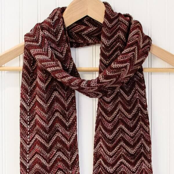 Three-Color Crochet Ripple Scarf Pattern