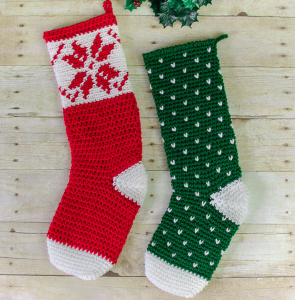 Fair Isle Snowflake Christmas Stocking Crochet Pattern | Petals to ...